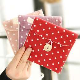Wholesale Napkins Fabrics - Wholesale- Polka Dot Organizer Storage Female Hygiene Sanitary Napkins Package Small Cotton Storage Bag Purse Case