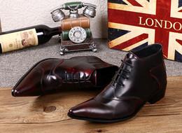 Zapatos de vestir de punta borgoña para hombre online-Euramerican cuero genuino vino rojo para hombre botas zapatos de boda con cordones borgoña punta estrecha Oxfords botas de negocios zapatos de vestir clásicos hombres