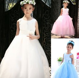 Wholesale Girl Dressess - Free shipping Princess Flower Girls' Dresses Sleeveless Kids Wedding Dress Satin And Tulle Pageant Gilr Dressess
