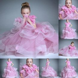 Wholesale Girl Amazing Gown - 2015 New Amazing Girl Pageant Dresses jewel Zipper Floor LengthTiers Organza Hand Made Flowers Short Sleeve Flower girl Gowns Children