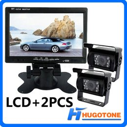 "Wholesale Bus Video Monitor - Truck Rear View Kit 2x Reversing Backup Parking Night Vision Camera+7"" LCD Monitor for Car Bus Truck Free 2 x10M Video Cable"