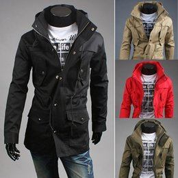Wholesale Korean Mens Coats - Autum Winter Mens Long Jackets Stand Collar Hooded Slim Fit Drawstring Coat Korean Fashion Canvas Military Jacket Men Outwear