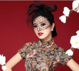Wholesale Ivory Birdcage Veil Vintage - Free Shipping Ivory Red Black Vintage Multi Color Perfect Birdcage Headpiece Head Veil Wedding Bridal Accessories 2015 Bride Hat