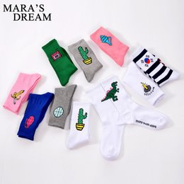 Wholesale Gun Socks - Wholesale- Korean Novelty Women and Men Cotton Socks Funny Dinosaur Gun Baseball Gun Fire Patterned Socks Creative Lovers Sock New