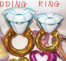 Globo globo de aluminio online-Anillo de 30 pulgadas y 43 pulgadas globos Forma de anillo de diamante grande Globos de Mylar Fiesta Globos metalizados Globos de papel de boda Globos de helio