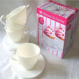 Wholesale Tea Cups Saucers Wholesale - 4 sets =1 box Tea Cup Silicone Cupcake Moulds Baking Fun Party Cakes Muffin Mould 4 Cup 4 Saucers Boxed Free Shipping