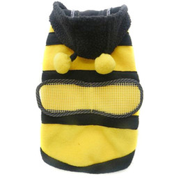 Wholesale Pet Clothes Dogs Bumble Bee - Pet Dog Cat Bumble Bee Wings Fleece Hoody Coat Costume Puppy Apparel Cute Clothes