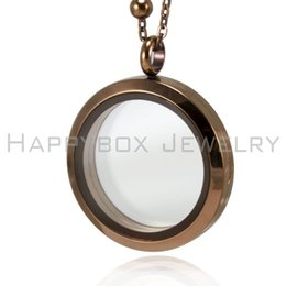 Wholesale Wholesale Chocolate Lockets - Hot selling chocolate brown floating locket 30mm 316L stainless steel glass living locket pendant not including the chain free shipping