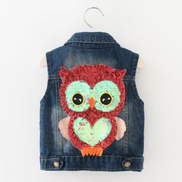 Wholesale Waistcoat Collar For Girl - Autumn Lovely Girls Outerwear Cowboy Coats Length Jacket Cartoon Owl Appliques Coat for Kids Sleeveless Vests