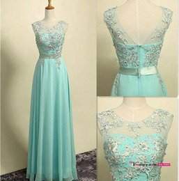 Wholesale Hot Pink Strapless Bridesmaid Dresses - Hot sale Long Bridesmaid Dresses A Line Cap Sleeves Lace Appliques Chiffon Sheer Backless Floor Length Prom Party Evening Gowns BO8054