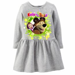 Wholesale Wholesale Designer Clothes Brands - Kids Masha and Bear Cartoon Long Sleeve Kids Clothing Girl Dress Princess Designer Girls Clothes Christmas Dress