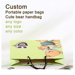 Wholesale Custom Wrapping Paper Wholesale - Custom Coated paper packing bag fashion portable paper bags Cute bear handbag gift wrapping paper free shipping