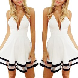 Wholesale White Sheer Night Gowns - S5Q Summer Women Sexy Casual Sleeveless Party Evening Cocktails Short Mini Dress AAAESE