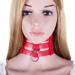 Wholesale Dog Collar Bdsm - Red PU Strip BDSM Dog Slave Collars with Lead Ring Bondage Gear Female Neck Collar For Sex Games Cosplay ASL-XQ0120