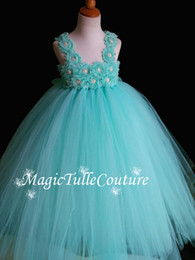 Wholesale Toddler Aqua Dresses - Aqua Flower Girl Dress Shabby Chic Flowers Dress Tulle Wedding Dress Birthday Toddler Tutu