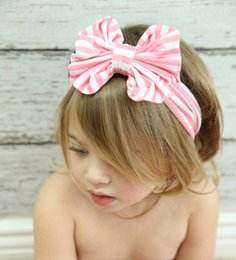 Wholesale Babies Knitted Headwraps - New style stripe cotton top knot children baby head wrap bow jersey knit headwraps cute big bow headband Free shipping