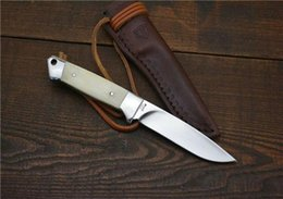 Wholesale Ground Handling - Bone handle small bowie knife knifes hunting tactical Leather sheath Manual grinding High quality knives