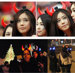 Wholesale Toy Horns - Halloween Led Devil Horns Lights Cheering Rave Toys Flashing Hair Clip HeadBand Light-emitting Hairpin Decoration
