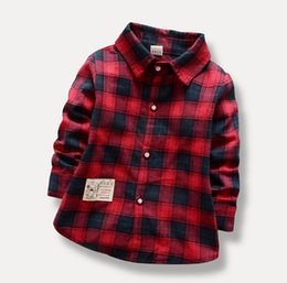 Wholesale Baby Grid - Children Boys Long Sleeve Shirt Baby Kids Autumn Spring Shirt Grid Boy's Shirt 4 P L