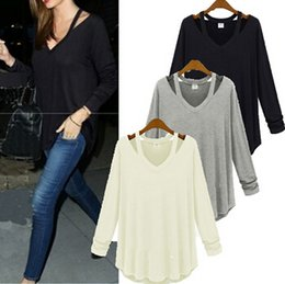 Wholesale Stylish Casual Shirts - New Fashion Stylish Casual Women Lady Girl Spring Summer Off Shoulder Long Sleeve V Neck Tops T Shirt T-shirt Tshirt Blouse