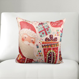 Wholesale Living Room Couches - Wholesale-42x42cm Christmas Printed Pillow Cases Cotton Linen Cushion Cases For Living Room Decorative Throw Cotton Couch