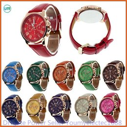 Wholesale Women S Quartz Wrist Watch - High Quality New Geneva Women s watches Quartz relogio Roman Numerals Faux Leather Analog Wrist Watch
