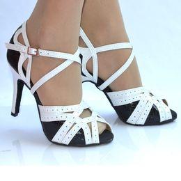 Wholesale White Salsa Shoes - new Women's Latin dance shoes Black white purple Ballroom dancing shoes Salsa Party Square dance shoes 8.5cm High heels Plus size