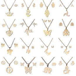 conjunto de pérolas jóias da pérola Desconto 16 estilos conjuntos de Jóias em aço inoxidável 316L Coroa Crânio borboleta Elefante Coração pingente de colar Brinco Set Para as mulheres Moda Jóias