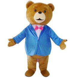 Wholesale Teddy Bear Mascots - 2016 Teddy TED Bear Adult Size Cartoon Mascot Costume Fancy Dress Outfit 3 Model