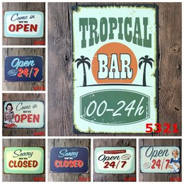 Tienda cerrada online-Retro Tin Painting Come in WE'RE OPEN / Closed Metal Signs Cafe Shop Panadería Restaurante Bar Club Decor Poster Carteles de chapa 20 * 30 CM