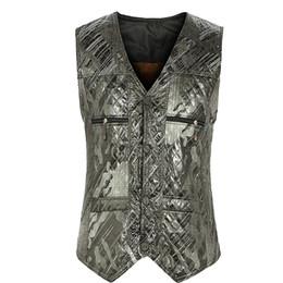 Мужские жилеты напечатаны онлайн-Fall-Winter Fall Fashion European Style Plus Size 3XL Mens Fleece Printed Sleevelss Warm Suit Vest , Waistcoat For Man , Male Vests