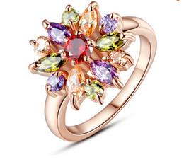 2019 anillos de oro multicolor Clasic Crystal Bling anillo de la flor 18 K oro rosa plateado anillo de dedo para las mujeres con 3A Multicolor Circón cúbico joyería de la boda accesorios anillos de oro multicolor baratos