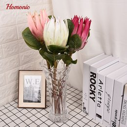 Wholesale artificial flower bouquet large - Large Artificial Flowers Bouquet South Africa National Flower Protea Cynaroides Rich Gorgeous Emperor Flores Artificiales Wedding Decorative