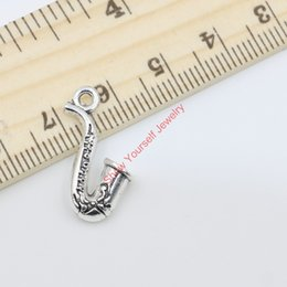 Wholesale Gold Music Pendants - 20pcs Vintage Antique Silver Plated Music Sax Charms Pendants for Jewelry Making DIY Handmade 22x11mm D405 Jewelry making DIY