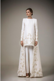 sexy long golden gown Coupons - Vintage Two Pieces Long Sleeve Arabic Robe Muslim Formal Dresses Golden Embroidery Flowers White Stain Only Coat Evening Gowns(Pants free)