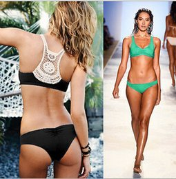 Wholesale Bikini Brazillian - 2016 New bikini Crochet Bikini Hot sale Swimwear Bandage Bikini Women High Neck Push Up Swimwear Brazillian bikini Bathing Suit D160 5set