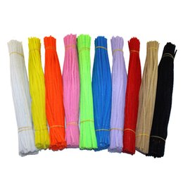 Wholesale Brown Blue Green Wires - Wholesale- 50PCS Multicolor Mixed Plush Iron Wire Flexible Flocking Craft Sticks Pipe Cleaner Creativity Developing Kids DIY Toys