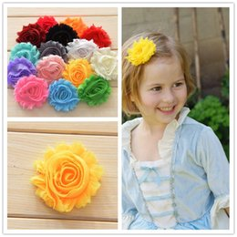 "Wholesale Wholesale Chiffon Frayed Flower - 150pcs Shabby Chic flower Frayed flower 2.5"" Solid flowers Rosette Trim flower Chiffon Frayed flower Invitation Flowers"