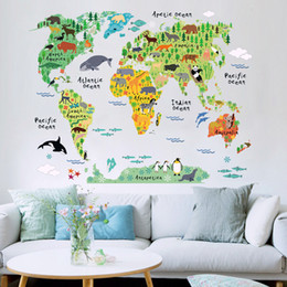 World map sticker decal canada best selling world map sticker removable animal world map wall sticker wall decal for kids room sofa tv background wall sticker geography preschool education gumiabroncs Images