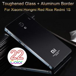 Wholesale Red Rice Phone - 22 Color,Toughened Glass Back Cover And Aluminum Frame For Xiaomi Hongmi Red Rice Redmi 1S Luxury Mobile Phone Battery Cover