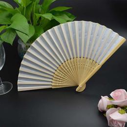 Wholesale Plain Hand Fans - 120pcs lot Plain solid color fabric Bamboo Fan Folding Hand fan Wedding Favor party gift H110w