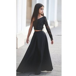 Wholesale One Shoulder Beaded Flower Girl - Said Mhamad Black One Shoulder Evening Dress for Girls Long Sleeve Kids Prom Dresses A Line Two Piece Beaded Flower Girls Dresses FS354
