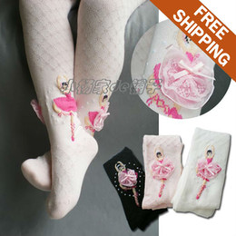 Wholesale Decorated Leggings - Wholesale-Free shipping! Children kids girls 75%cotton mesh knit Tight. Decorated with a dancing girl. 3colors. 3pcs lot.2-7years