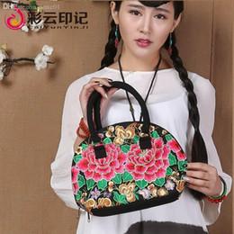 Wholesale Traditional Handbags - Wholesale-(Freeshipping)New fashion Chinese traditional handmade embroidery peony flower pattern.Retro national style female noble handbag