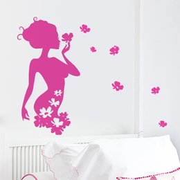 Wholesale Black Flowers Wall Stickers - DIY Pretty Flower Fairy Vinyl Wall Stickers Girls Bedroom Home Decor Decals