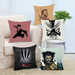 Wholesale Marvel Comic Cover - Wholesale- Pillow Case Superheroes Marvel Comics X-Man Wolverine Hugh Jackman Throw Pillow Cover Home Decorative Throw Pillowcase Square Z