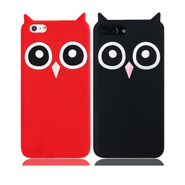 Wholesale Owl Silicone Phone Case - 3D Cute Cartoon OWL Soft Silicon Rubber Phone Back Case Cover for Iphone X 5s 6 6s plus 8 7 plus