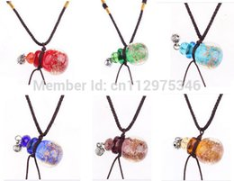 Wholesale murano glass perfume bottle pendant - Wholesale murano lampwork glass pendants necklaces jewelry perfume vial bottle pendants Best Gift DHL EMS Free + Dropper PB053
