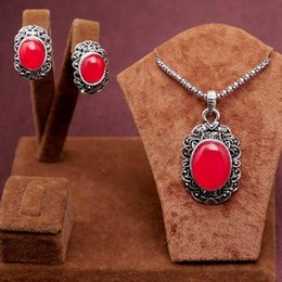 Wholesale Beads Red Necklace Earrings - 2PCS New Arrival Romantic antique silver blue red round beads Design Necklace Earrings Jewelry Set women's gift free ship
