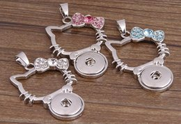 Wholesale Kitty Necklace Crystal - NOOSA Multicolor Kitty Cat Ginger Snap Button Pendants Necklace with Crystal Jewelry Interchangeable Jewerly 3 Colors for choices